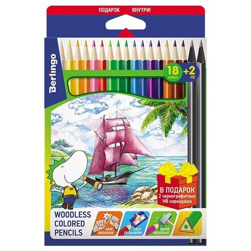 Фото - Berlingo Карандаши пластиковые Корабли, 18 цветов + 2 чернографитных карандаша (CP_02918) berlingo карандаши цветные пластиковые цирк 18 цветов cp 04812