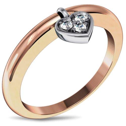 Эстет Кольцо с подвеской Сердце с бриллиантами из комбинированного золота 01К667587, размер 17.5 фото