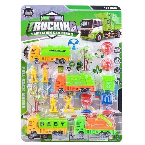 Набор машин Oubaoloon грузовые машины, фигурки рабочих, дорожные знаки, аксессуары, на листе (127B)
