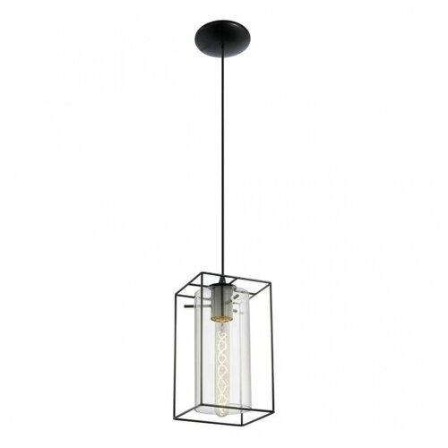 Потолочный светильник Eglo 49495, E27, 60 Вт, кол-во ламп: 1 шт., цвет арматуры: черный, цвет плафона: бесцветный потолочный светильник eglo 94635 e27 60 вт