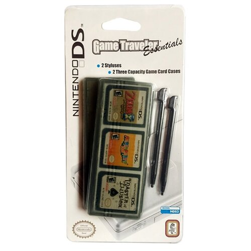 Комплект для Nintendo DS и 3DS NDS2 (2 Styluses & 2 Three Game Card Cases) тёмно-прозрачный