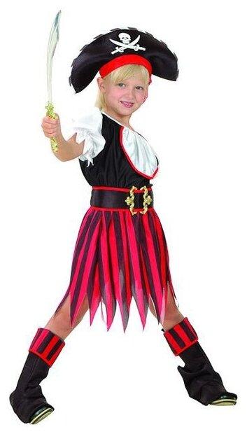 Костюм SNOWMEN Пиратка Е93155, белый/черный/красный, размер 11-14 лет