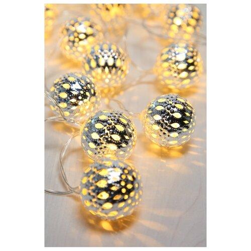 Гирлянда Globo Lighting Venuto 190 см, 29957-20, 20 ламп, теплый белый/серебристые плафоны, серый провод