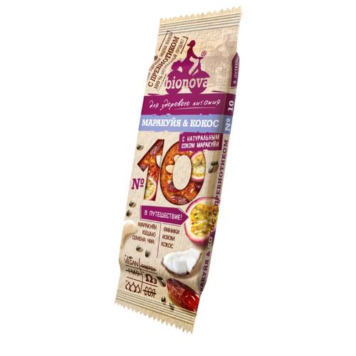 Фруктовый батончик BIONOVA №10 без сахара с пребиотиком Маракуйя & Кокос с натуральным соком маракуйи, 35 г батончик капитан сильвер кокос 35 г шоколадная глазурь