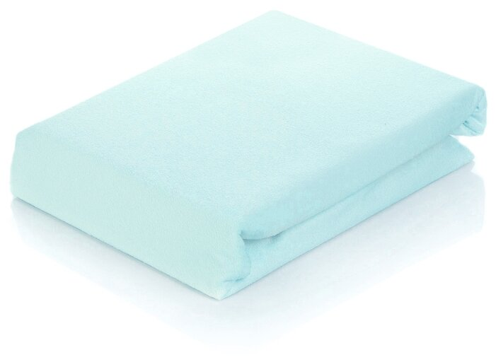 Простыня АльВиТек сатин на резинке 200 х 200 см голубой