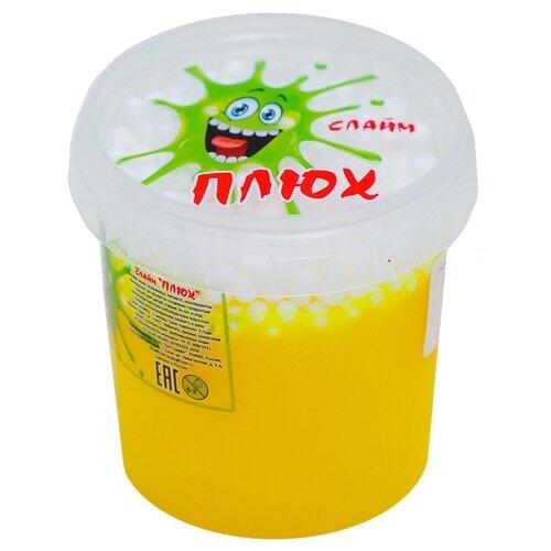 Лизун Плюх с шариками в тубе желтый