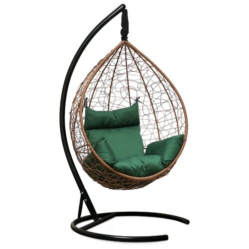 Подвесное кресло-кокон Laura Outdoor Sevilla, горячий шоколад/зеленый