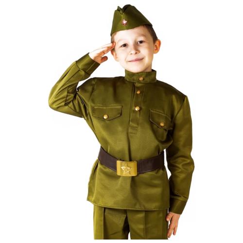 Купить Костюм Бока Военная форма Солдат люкс, зеленый, размер 122-134, Карнавальные костюмы