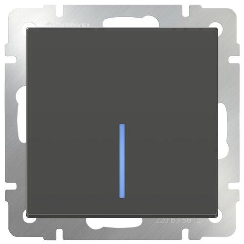 Выключатель 1-полюсный Werkel WL07-SW-1G-2W-LED,10А, серо-коричневый выключатель 1 полюсный werkel wl06 sw 1g 2w led 10а серебристый