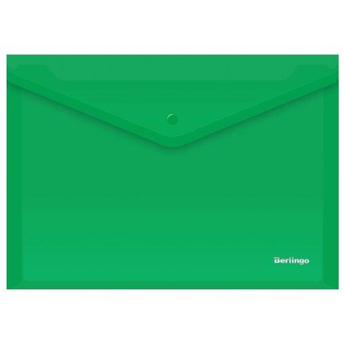 Купить Berlingo Папка-конверт на кнопке A4, пластик 180 мкм, 10 штук зеленый, Файлы и папки