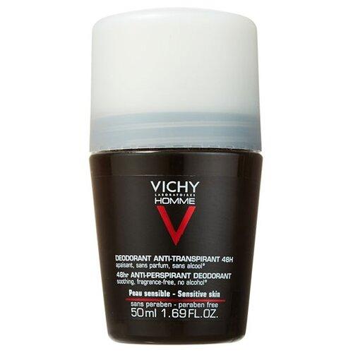 Дезодорант-антиперспирант ролик Vichy Homme для чувствительной кожи, 50 мл vichy для мужчин homme 72 часа