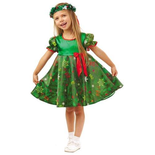 Купить Костюм пуговка Ёлочка (1026 к-18), зеленый, размер 128, Карнавальные костюмы