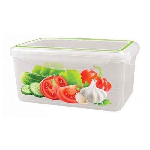 Phibo Контейнер для холодильника и микроволновой печи super lock с декором 1,6л прозрачный/декор недорого