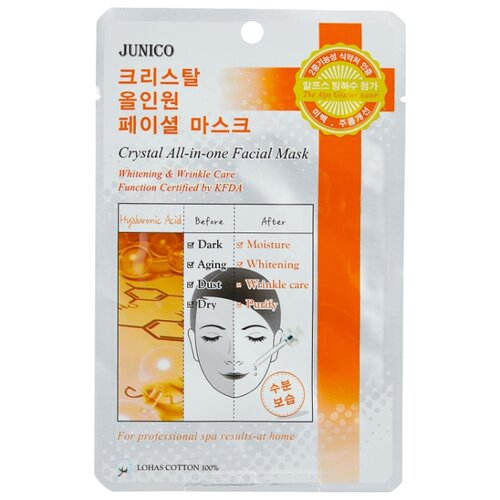 Junico тканевая маска Junico Crystal All-in-one Hyaluronic Acid с гиалуроновой кислотой, 25 г маска тканевая для лица mijin cosmetics junico crystal all in one facial mask snail 25 г