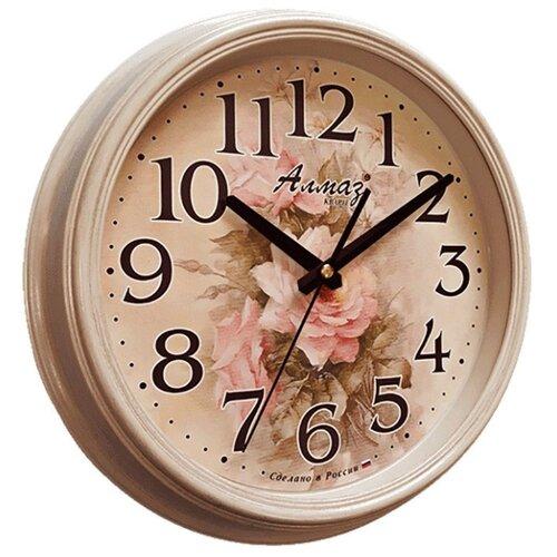 Часы настенные кварцевые Алмаз A43 белый/розовый