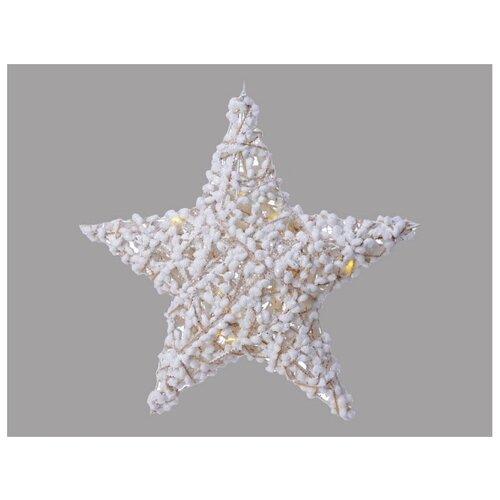 Подвесная ХЛОПКОВАЯ ЗВЕЗДА, 20 тёплых белых LED-огней, 40 см, таймер, батарейки, Kaemingk светящееся панно баночка снеговичков merry christmas mdf 5 тёплых белых led огней 17x27 см таймер батарейки kaemingk
