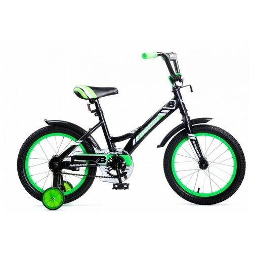 Детский велосипед Navigator Bingo (ВМ16138/ВМ16137/ВМ16152/ВМ16153) черный/зеленый (требует финальной сборки)