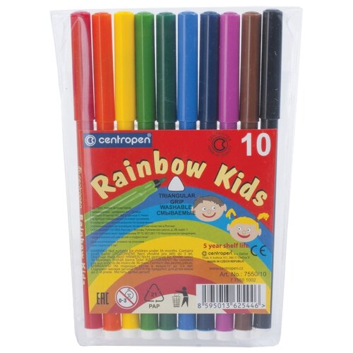 Фото - Centropen Набор фломастеров Rainbow Kids (7550/10), 10 шт. centropen набор фломастеров rainbow kids 12 шт 7550 12