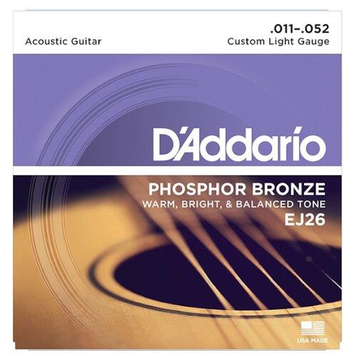 Струны для акустической гитары Custom Light 11-52 D`Addario EJ26 PHOSPHOR BRONZE
