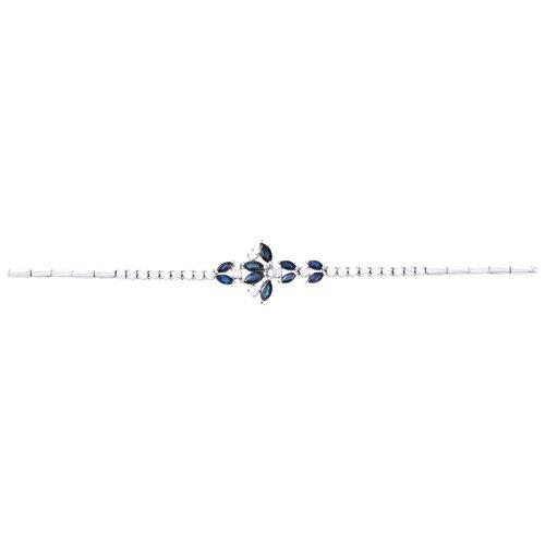 JV Золотой браслет с сапфиром, бриллиантами SFGB087-WGDWSA-BT-SA-WG, 18.5 см, 8.56 г