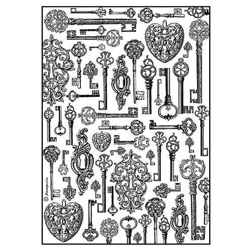 Купить Бумага рисовая мини - формат Ключи 21 х 29, 7 см (A4) 1 лист, Stamperia, Карты, салфетки, бумага