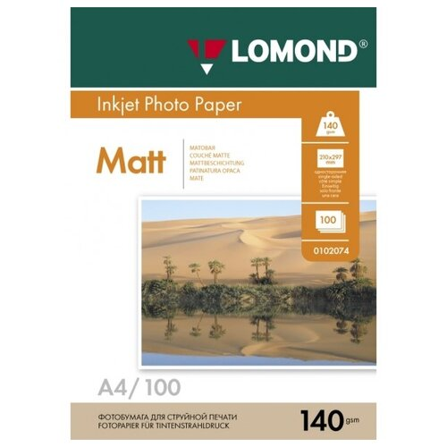 Фото - Фотобумага Lomond А4 140 г/м2, 100 листов, матовая односторонняя наклейки lomond а4 65 частей 70г м2 50л 38ммх21 2мм 2100215 матовая белая