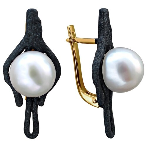 Эстет Серебряные серьги с жемчугом, эмаль С20С35261Y1BПЭ