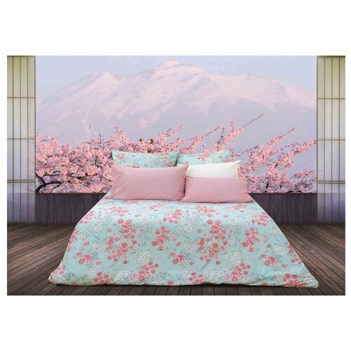 Постельное белье семейное Sova & Javoronok Японский сад 70х70 см, перкаль розовый/голубой кпб семейное голубой попугай сирень постельное белье с рисунком