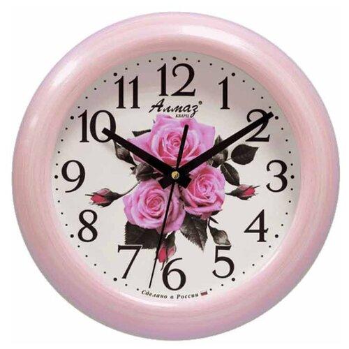 Часы настенные кварцевые Алмаз P33 розовый/белый