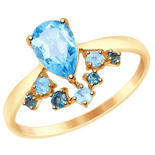 SOKOLOV Кольцо из золота с голубыми и синими топазами 715005, размер 18.5