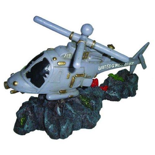 Фигурка для аквариума Prime Затонувший вертолет 17.5х8х11 см серый