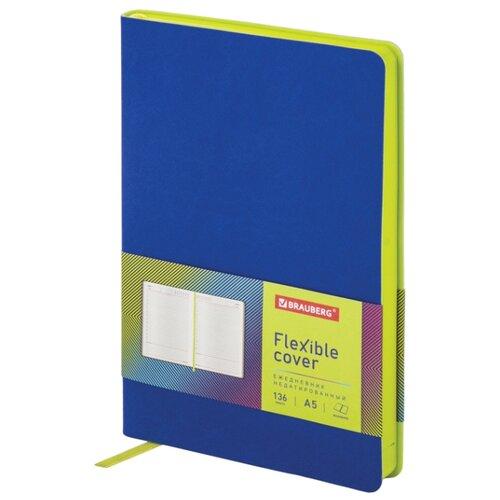 Купить Ежедневник BRAUBERG Flex недатированный, искусственная кожа, А5, 136 листов, синий, Ежедневники, записные книжки