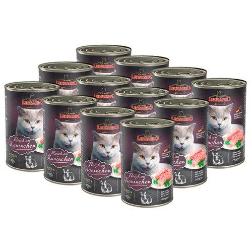 Влажный корм для кошек Leonardo беззерновой, с кроликом 12шт. х 400 г