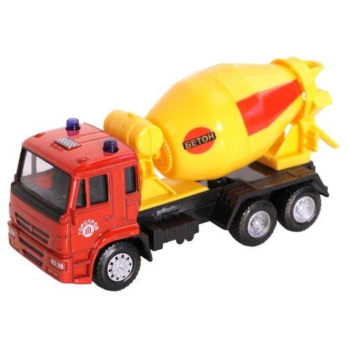 Купить Бетономешалка Автопанорама 1200095/1200096 1:54 красный/желтый, Машинки и техника