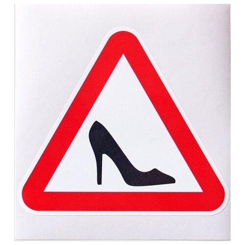 Декоративная наклейка Промтехнологии Знак-наклейка на машину Девушка за рулем белый/красный 1 шт.