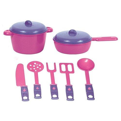 Купить Набор посуды ZEBRATOYS Повар 15-10037-9 розовый/фиолетовый, Игрушечная еда и посуда