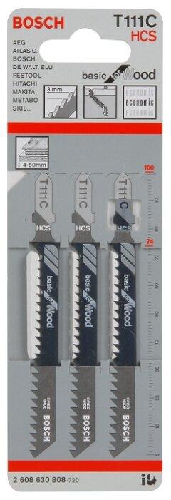 Набор пилок для лобзика BOSCH T111C 2608630808 3 шт.