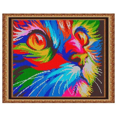 Светлица Набор для вышивания бисером Радужный котик 30 х 24 см, бисер Чехия (518П)