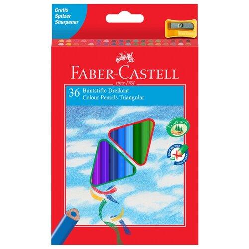 Купить Faber-Castell Карандаши цветные трехгранные c точилкой 36 цветов (120536), Цветные карандаши