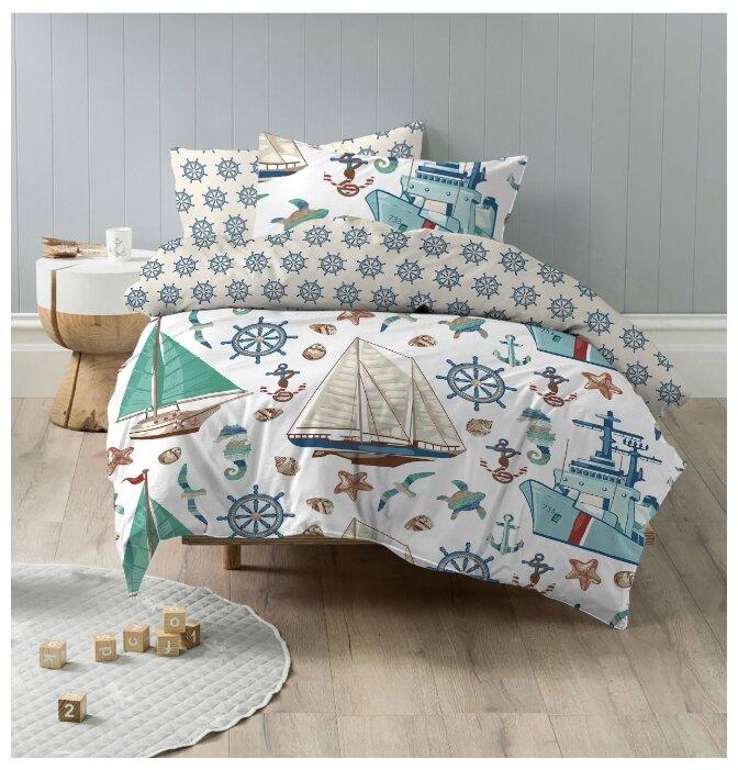 Постельное белье 1.5-спальное Mona Liza Kids Моряки, бязь белый/голубой