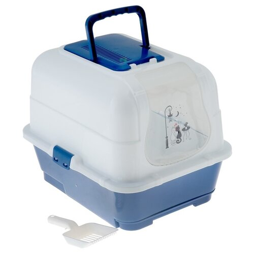 Туалет-домик для кошек Пижон 3880622 51.5х40х38 см синий