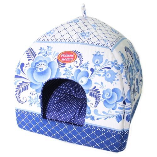 Домик для собак и кошек Родные места Избушка №1 Гжель 42х42х50 см белый/голубой