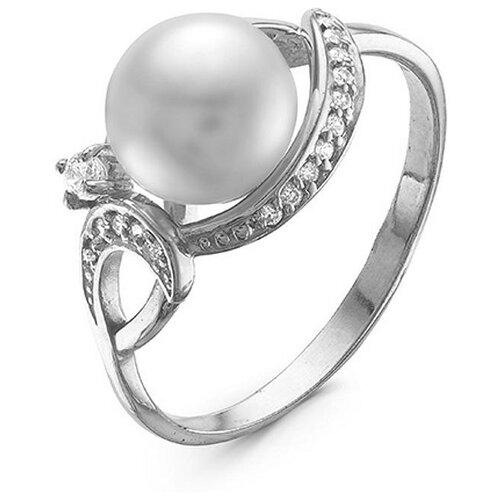 Приволжский Ювелир Кольцо с жемчугом и фианитами из серебра 271045-FA11ZM07, размер 19.5 фото