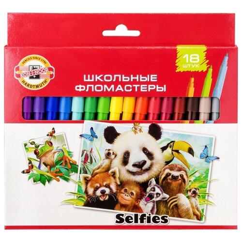 KOH-I-NOOR Набор фломастеров Selfies (1002/18 S KS), 18 шт. набор фломастеров koh i noor домашние животные 1 мм 24 шт 1002 24 te
