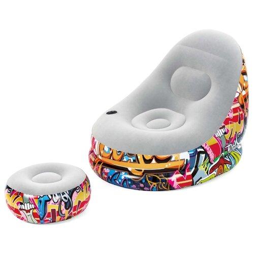 Надувное кресло Bestway Graffiti с подушкой для ног 75076