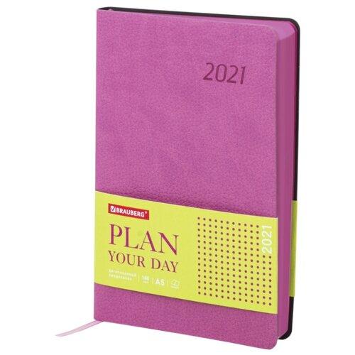Купить Ежедневник BRAUBERG Stylish датированный на 2021 год, искусственная кожа, А5, 168 листов, розовый, Ежедневники, записные книжки