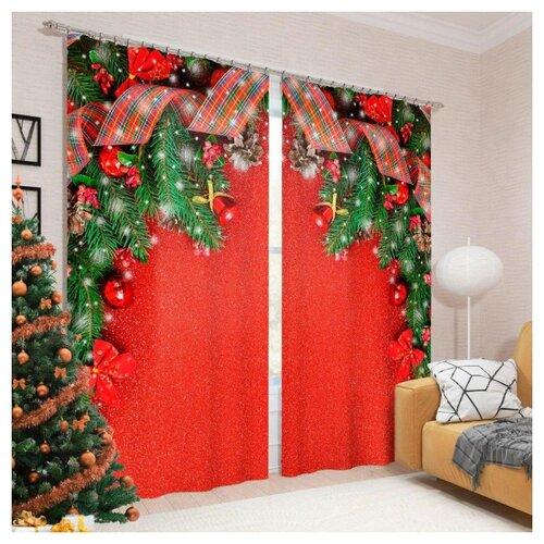Фотошторы Сирень Волшебные подарки на ленте 260 см красный/зеленый