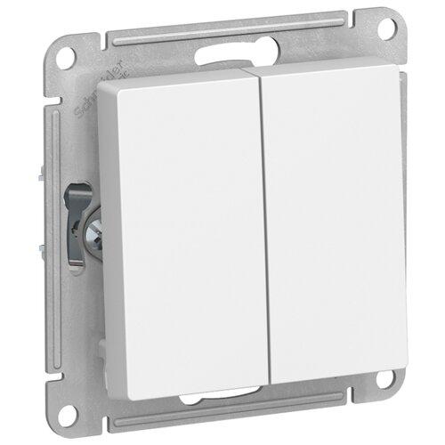 Выключатель 2х1-полюсный Schneider Electric ATN000165 AtlasDesign, 10 А, белый выключатель 1 полюсный schneider electric atn000211 atlasdesign 10 а бежевый