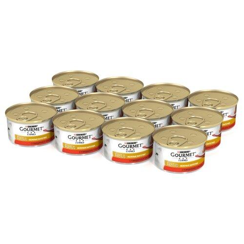 Влажный корм для кошек Gourmet Голд Нежные биточки, с говядиной, с томатами 12 шт. х 85 г (кусочки в соусе) влажный корм для кошек gourmet голд с форелью 24 шт х 85 г кусочки в соусе
