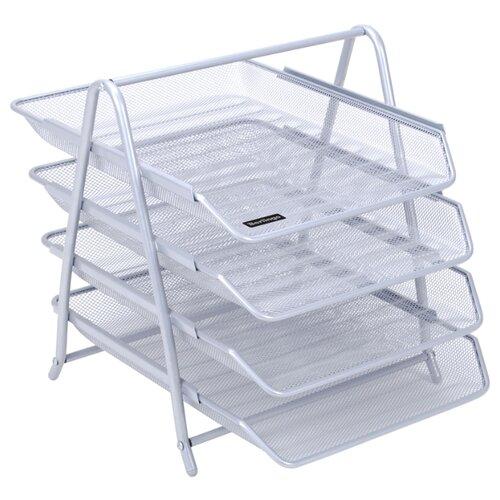 Купить Лоток горизонтальный для бумаги Berlingo Steel&Style BMs_41042/BMs_41041 (4 отд.) серебристый, Лотки для бумаги